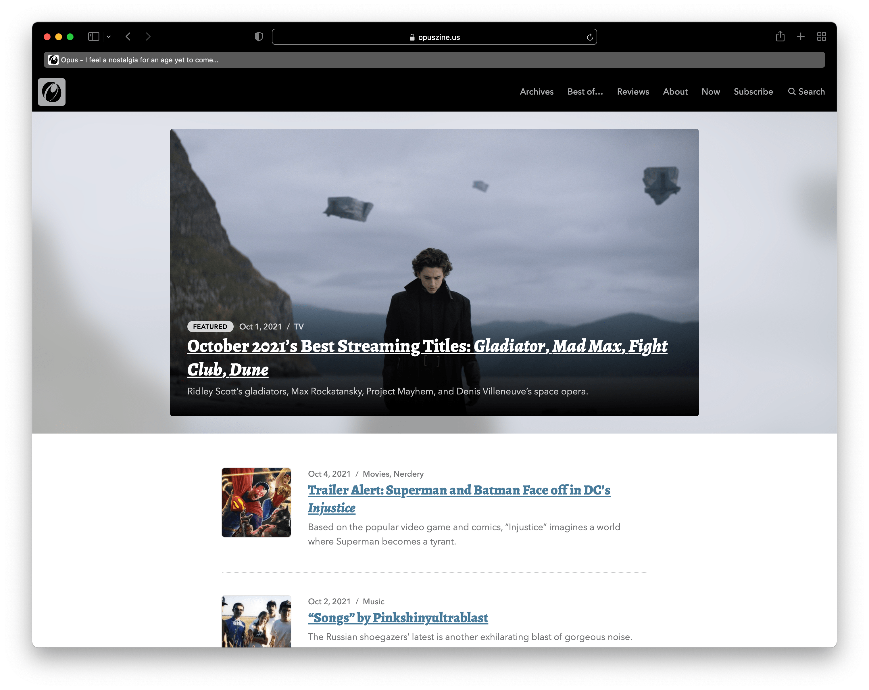 The Opus homepage in Safari 15 with Show color in tab bar activated