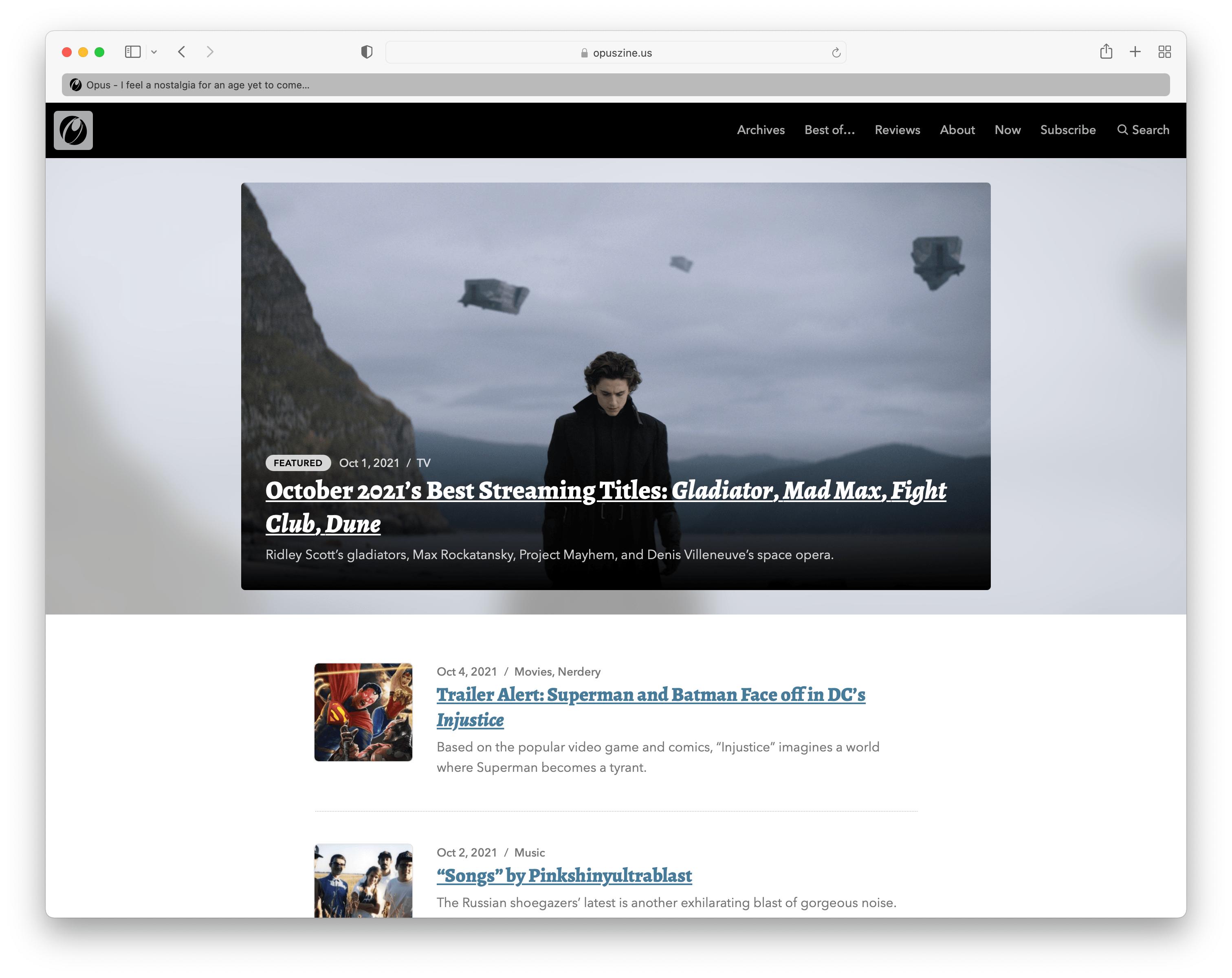 The Opus homepage in Safari 15